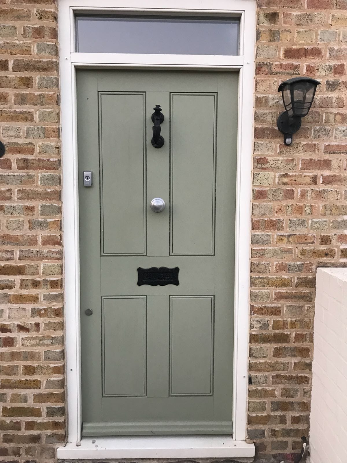 Georgian flush panel door - finished in Farrow & Ball Lichen