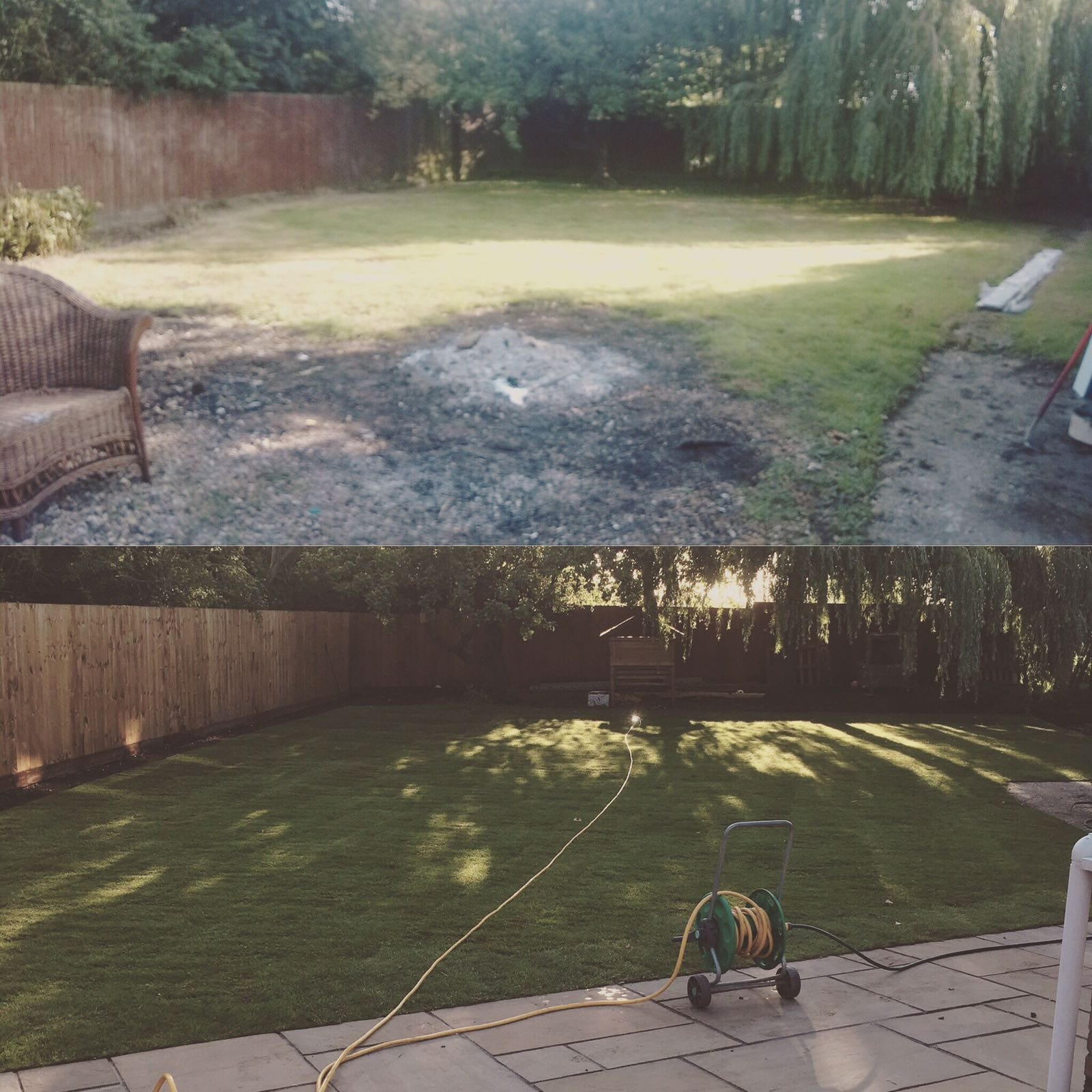 A before and after image showing landscape work we provided
